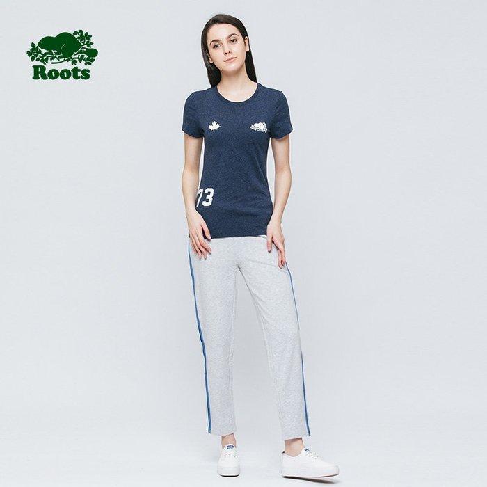 ROOTS 全新女款 貝德福短袖T恤-藍S(歐美尺寸)-RC38030029