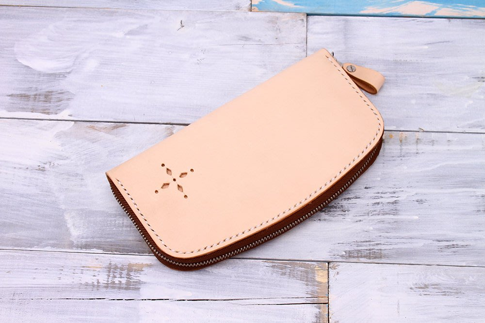 【切線派】意大利植鞣革真皮旅行收納拉链风琴錢包RFID屏蔽錢包 原色