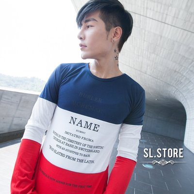 SL Store【CLT014】藍白紅拼接英文字印花圓領長T.單一色/M/L/XL