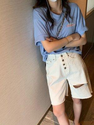 破洞設計毛邊五分牛仔短褲 chic ☆...