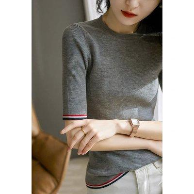 🎀p.a巴黎小時光の老店僅此一家💕    精湛紡紗工藝! 顯瘦坑條16針撞色中袖羊毛針織衫