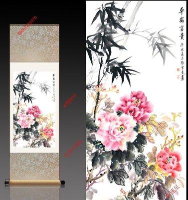 【幸運星】開運 40*120cm 風水畫 牡丹畫 絲綢畫 卷軸畫 QV 辦公室客廳 送禮 A10
