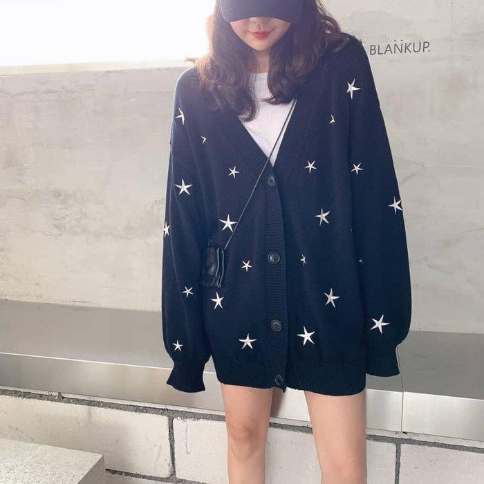 韓KOREA刺繡星星款軟Q針織外套