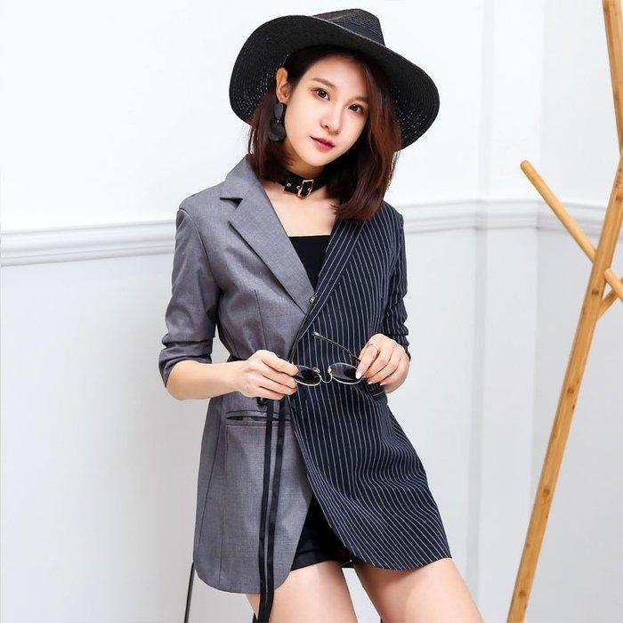 大尺碼西裝 2019新款女裝夏七分袖薄款不對稱拼接中長款小西裝休閑西服外套女