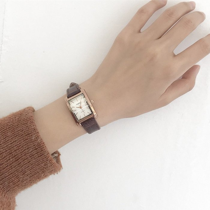 降價大促-chic手錶女學生正韓簡約潮流手錶 ulzzang小錶盤方形款森女複古學院風女錶