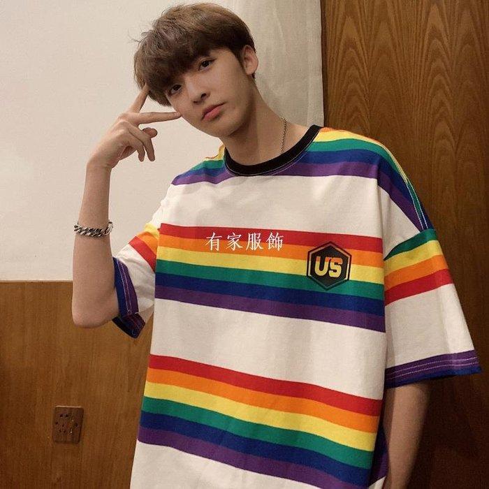 有家服飾潮流寬松條紋短袖t恤男夏季香港百搭休閒上衣bf風半袖T恤