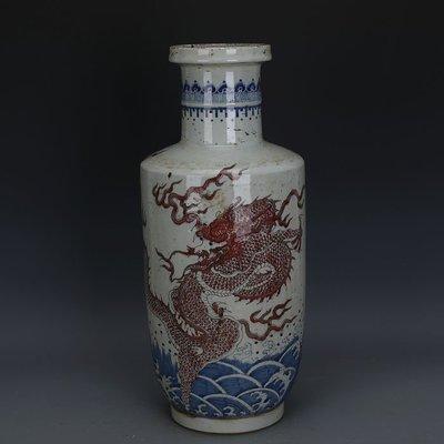 ㊣姥姥的寶藏㊣ 大清康熙青花釉里紅海水龍紋棒槌瓶柴窯全手工  古瓷古玩古董收藏