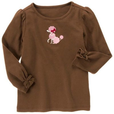 B@☆蠍蠍傳說☆Gymboree Embroidered Poodle Tee高雅粉貴賓狗圖咖啡色長袖上衣(9-12T)