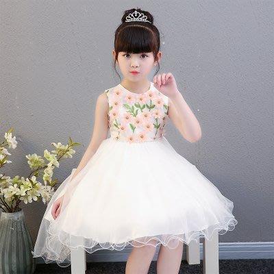 [C.M.平價精品館]130~160現貨特價/美麗立體花面料浪漫多層白紗蓬裙無袖洋裝  小中童/大童