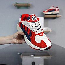 D-BOX Adidas Originals Yung-1 紅色 藍白 低筒 麂皮 復古老爹鞋 男女休閑鞋