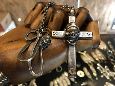 造夢師 手工訂製【Stop Light 高山隆】【復刻】 十字架黃銅獨眼骷髏 925純銀 吊墜/項鍊