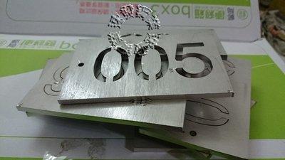 速發~精緻白鐵數字吊牌~噴字模耐候性鋼板~鍍鋅板不鏽鋼不銹鋼板 藝術招牌門牌 ~切割字~標示牌~耐蝕板~生鏽板~