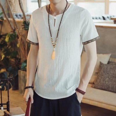 中國風男裝 夏季薄款寬鬆民族風仿亞麻短袖T恤男 中式上衣唐裝休閑半袖