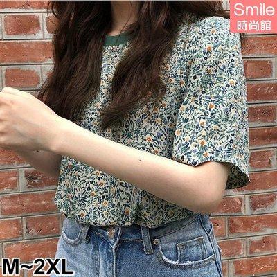 【V3104】SMILE-洋氣百搭.復古碎花圓領短袖上衣