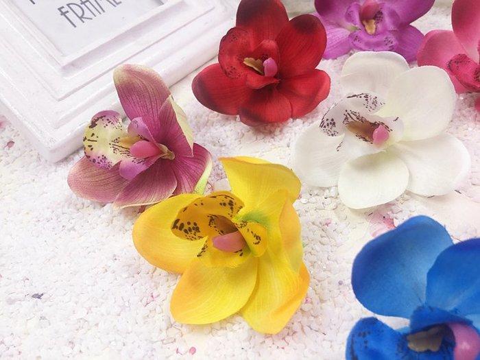 福福百貨~10朵仿真蝴蝶蘭捲邊蘭花絹花花朵diy髮飾鞋帽家居擺設裝飾花婚禮插花牆會場布置~