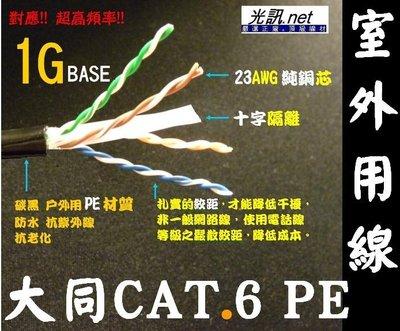[光訊.net] 大同網路線 CAT.6 PE 室外用 戶外用 網路線 ㊣23AWG 十字隔離 抗紫外線 大同 CAT.5e FTP 台北市