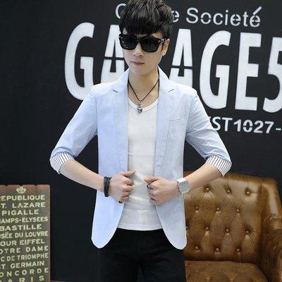 夏季七分袖薄款修身韓版青少年男士中袖西服休閒短袖外套 QQ1243