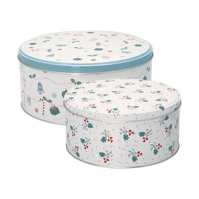 GreenGate Round Tin Box Set - Jingle Bell White
