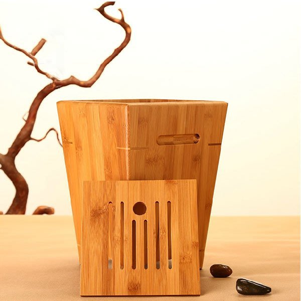 5Cgo【茗道】含稅會員有優惠 45722986487 竹制茶水桶茶渣桶排水桶茶桶竹蓄水桶垃圾桶茶具配件竹茶桶