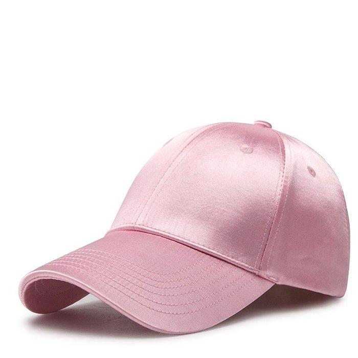 絲綢緞面純色棒球帽子女士春季時尚潮流學生街頭鴨舌帽百搭遮陽帽