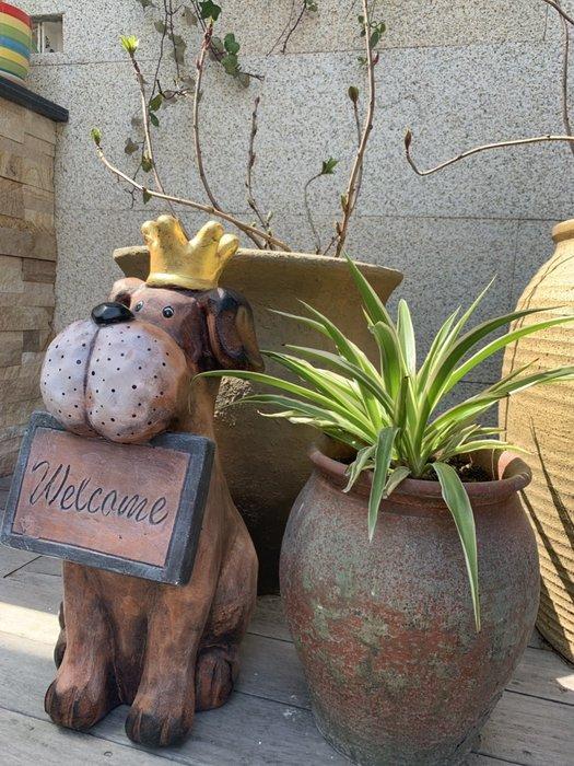 [ Atelier Smile ] 鄉村雜貨 復古作舊 景觀花園擺飾 歡迎狗狗掛牌 庭園 動物擺飾  #新品免運