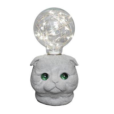 曙MUSE|水泥摺耳貓USB桌燈