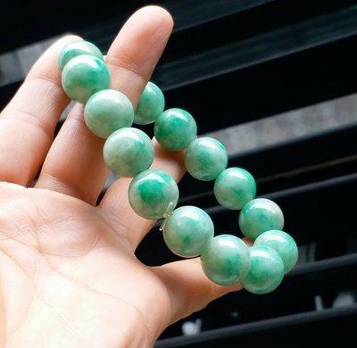 嗨,寶貝銀飾珠寶* 翡翠飾品☆保證天然緬甸玉A貨 顯色 大顆 白底青飄陽綠翡翠手鍊 珠鍊 特價9900元