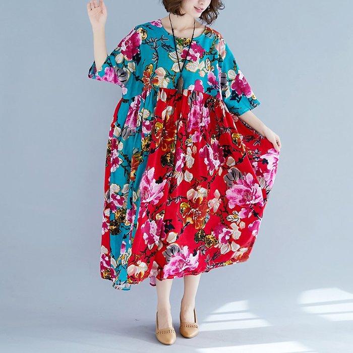 文藝 復古 棉麻連身裙 印花 甜美 實拍民族風拼接連衣裙女夏寬松棉麻胖mm300斤特大碼