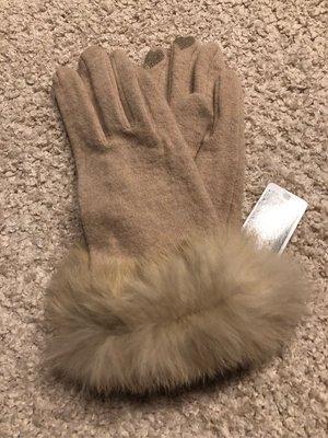 日本帶回 Touch panel 名媛風兔毛滾邊保暖手套 防寒手套 下雪 北海道東北旅行必備 滑手機專用保暖手套