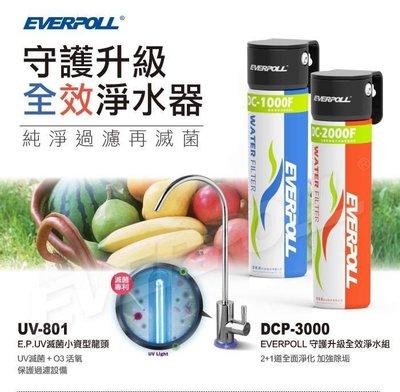 北台灣專業淨水 愛惠浦科技 EVERPOLL UV滅菌小資鵝頸 UV-801+DCP-3000 淨水組 如需安裝請先洽詢