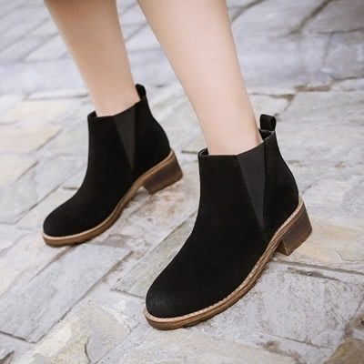 短靴 低跟靴子-歐美簡約絨面鬆緊帶女馬丁靴2色73is30[獨家進口][巴黎精品]