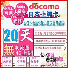 *日本好好玩 超商免運費*20天+1天 日本上網卡 4G 吃到飽 送行李秤 DOCOMO 日本 網卡 SIM卡 WIFI