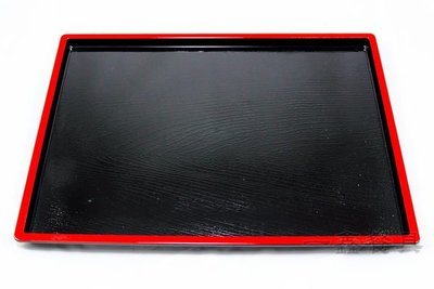 一鑫餐具【日式托盤 A-12 紅邊】紅邊托盤塑膠托盤麥當勞托盤防滑托盤竹托盤