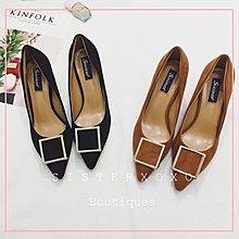 Sis KOREA 歐美簡約風 低調奢華 名媛款性感優雅 黑色細高跟鞋 韓國設計 通勤OL 金屬方框設計感