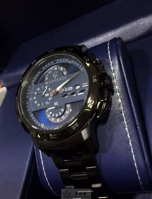 瑪莎拉蒂手錶MASERATI手錶INGEGNO款,編號:R8873619001,黑色錶面槍灰色精鋼錶鏈錶帶款(停產)