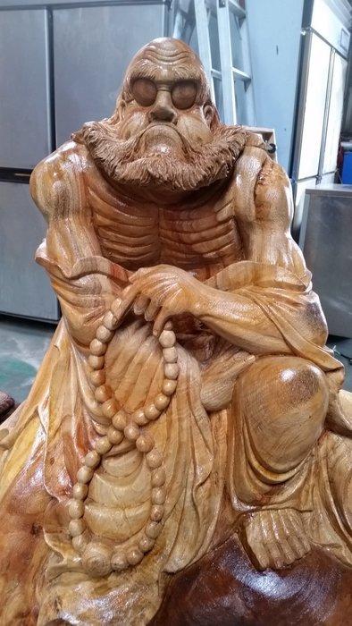 國際二手貨中心-------樟木木雕  大型 木包石  達摩木雕 獨當一面 威風凜凜