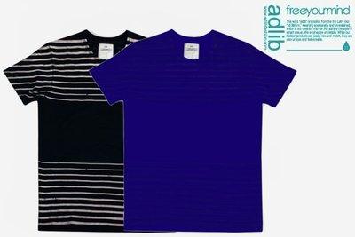 【YOYOGI PLUS】ADLIB - 橫線加工口袋TEE (藍/黑)