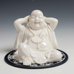 INPHIC-宗教 汽車擺飾 陶瓷彌勒佛汽車裝飾品 抱頭笑佛