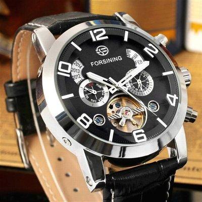 FORSINING 潮流時尚雜誌款 陀飛輪 自動機機械錶 真三眼 多功能 年 月 日 星期/立體鏤空腕錶