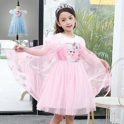 現貨 女童 艾莎公主短袖雪花網紗洋裝18MM200808