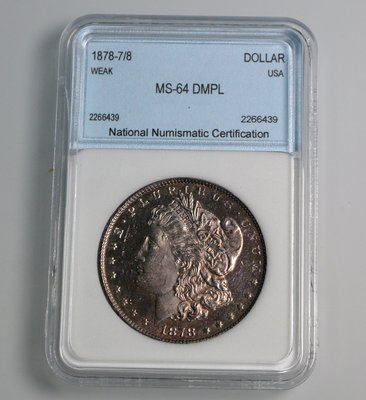 評級幣 1878-7/8年 WEAK 美國摩根 1 DOLLAR 首年 類鏡面 銀幣 鑑定幣 NNC MS64 DMPL