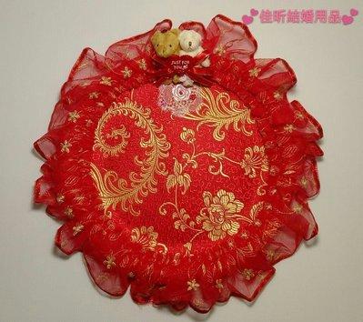 結婚小熊造型紅色蕾絲喜盤~糖果點心盤~ 茶盤  捧柑盤 (大喜盤)
