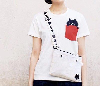 🌸歐夏蕾媽貓屋🌸 日本🇯🇵雜誌款ne-net 驚訝貓nya黑貓帆布休閒側背包(現貨)