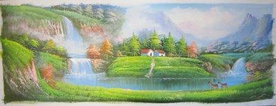 『府城畫廊-手繪油畫』山水畫-左右逢源聚寶盆-福祿雙全-30x90-(可加框)-有實體店面,請看關於我聯繫-J11