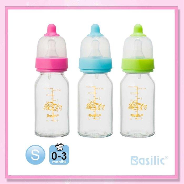 <益嬰房>貝喜力克 一般口徑 防脹氣高耐熱玻璃奶瓶120ml(D229) 標準口 1支入
