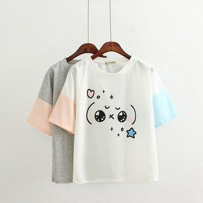 FuNFang_春夏上新*純棉紅藍袖寬鬆短袖T恤