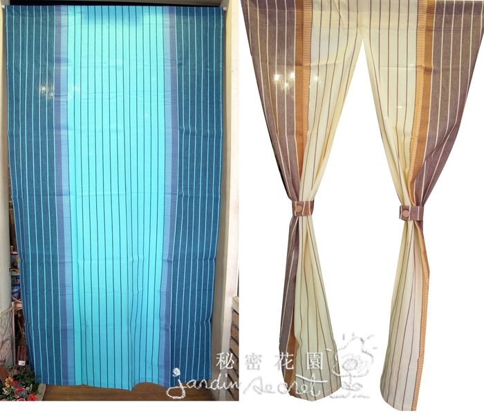 門簾窗簾--進口簡約直紋純棉中開長門簾-85*150cm--秘密花園