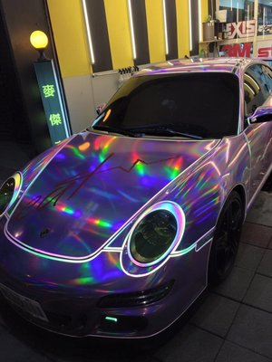 Porsche997 七彩雷射膜搭配七彩反光線條 3M 981 987 958 957車體包膜