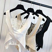 格格家 夏裝新款性感夜店女神蕾絲鏤空露背交叉低胸針織背心E130