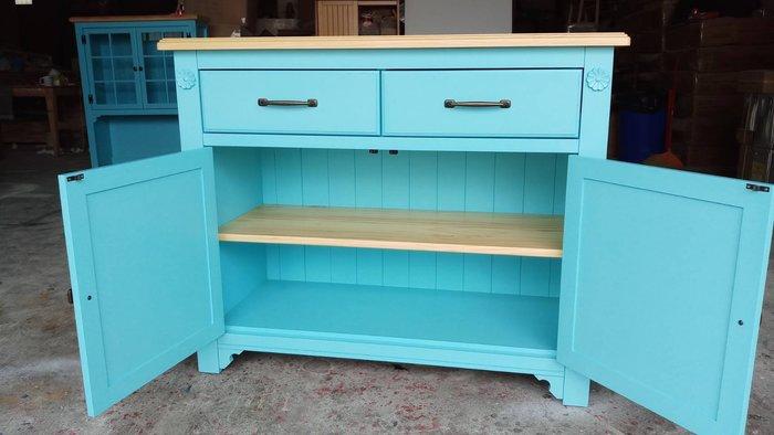 鄉村家具 客製化 訂製品 美生活館 茵儷 全紐松 雙色 (淺木色+藍色) 餐櫃 碗盤櫃 收納櫃 茶水櫃--可拆買下座再請